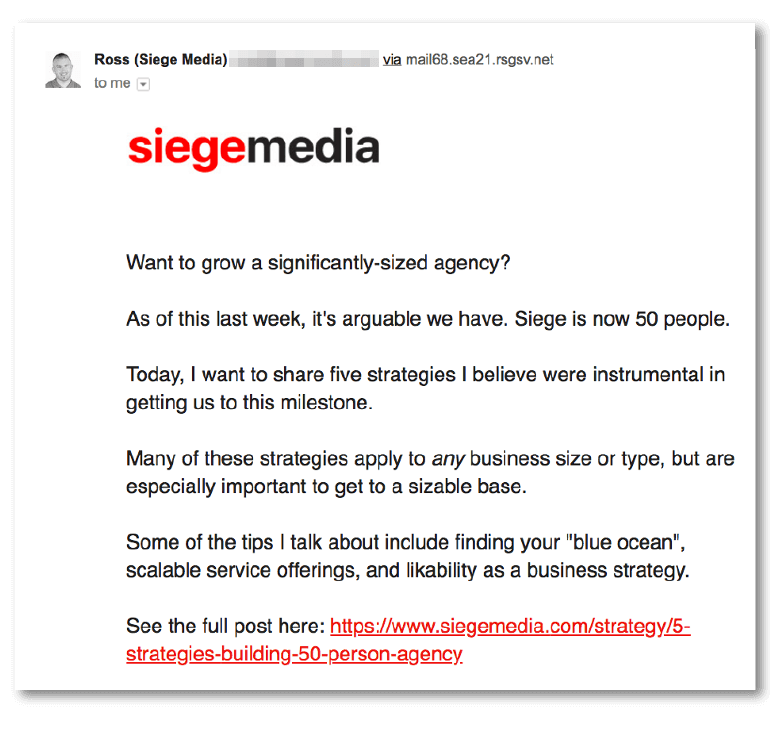 Sample email from Siege Media