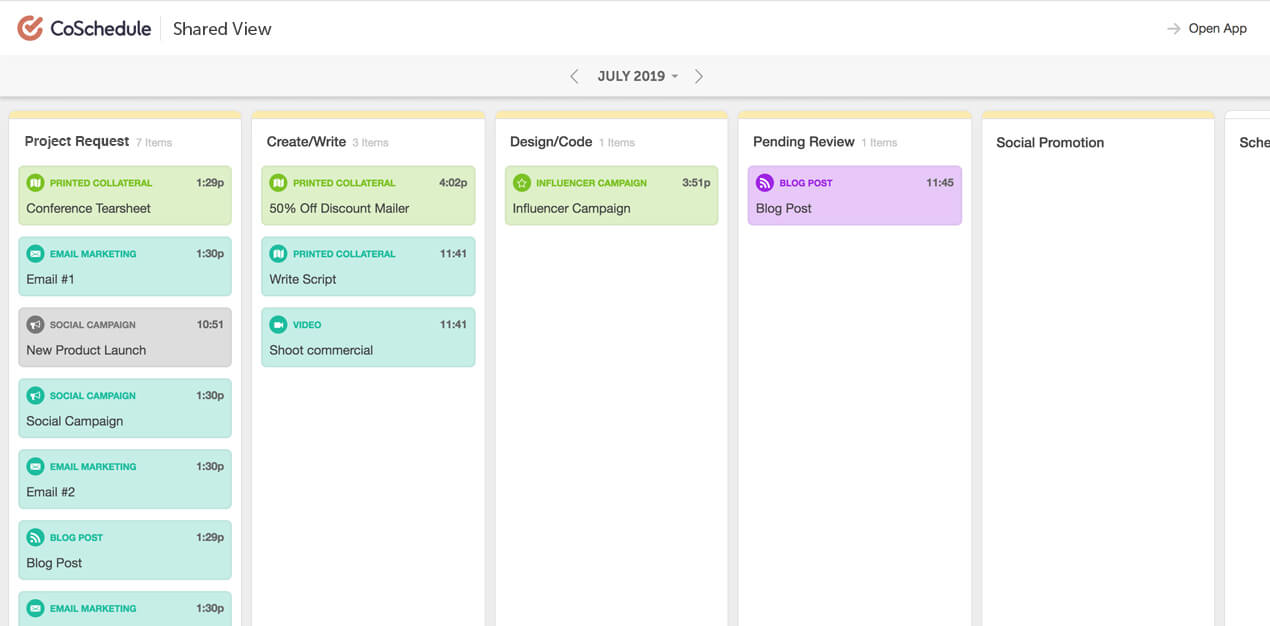 Kanban Project Dashboard Shared View in CoSchedule