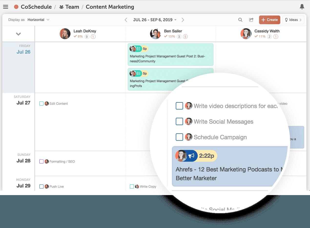 CoSchedule's Team Management Dashboard