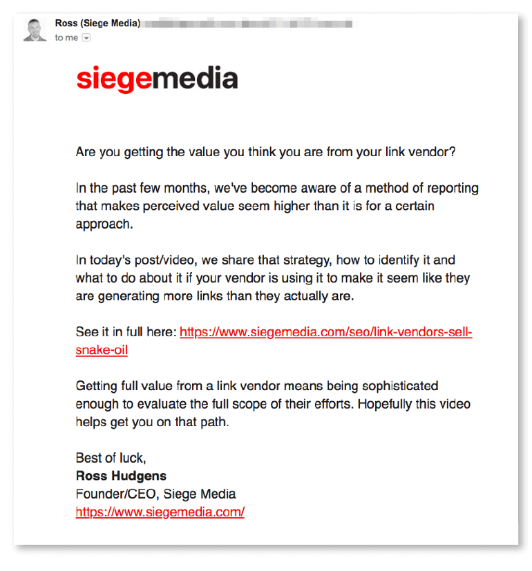 Example of skimmable email copy