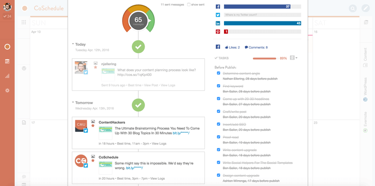 social accounts queue published and future posts in CoSchedule
