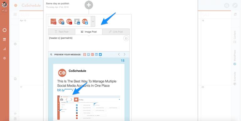 social media accounts image selector in CoSchedule