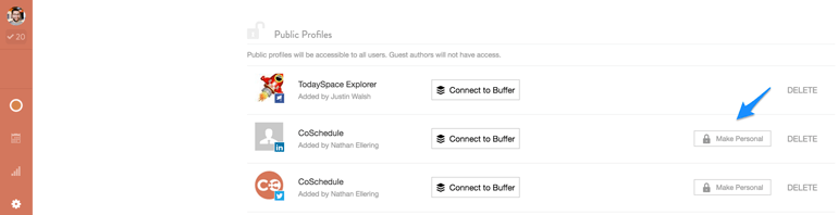 comprehensive social media accounts list of public and private profiles in CoSchedule