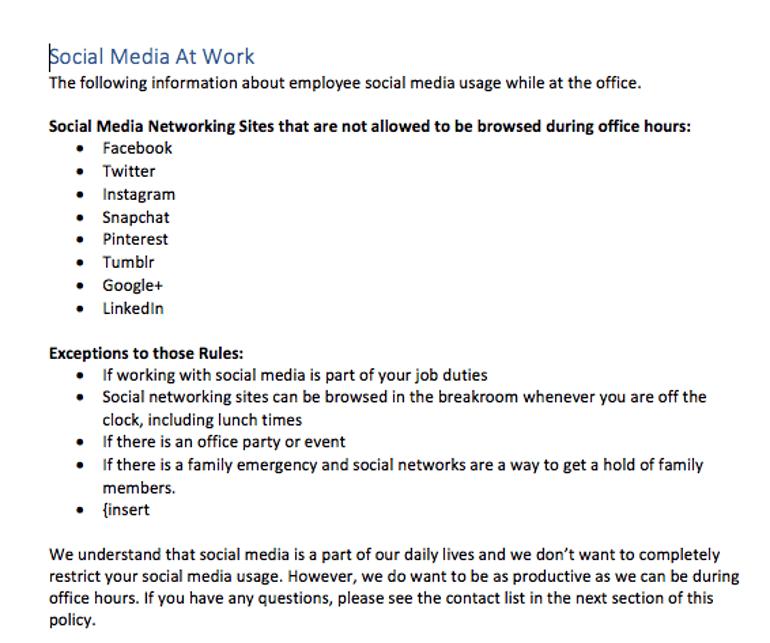Social Media at Work section