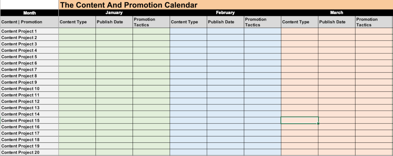 Example of the social media promotion calendar