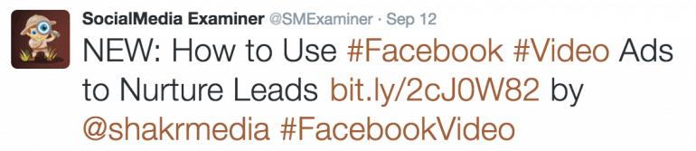 Hashtag tweet from Social Media Examiner