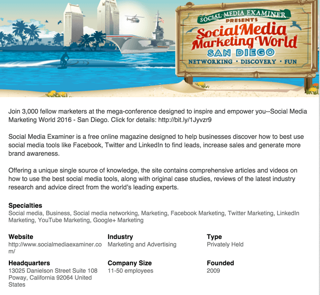 Screenshot of Social Media Examiner's LinkedIn Page