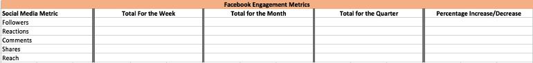 Social media metrics template screenshot