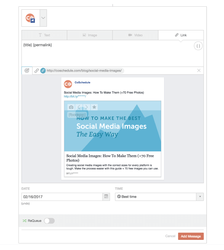 Example of a link post with an image in CoSchedule