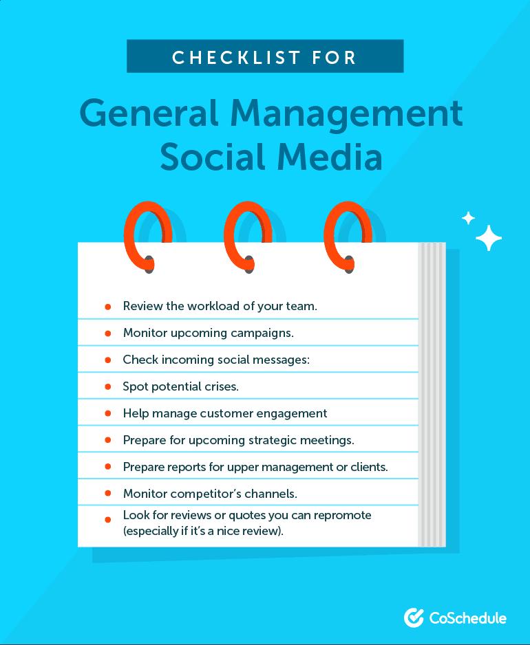 Checklist for General Social Media Management