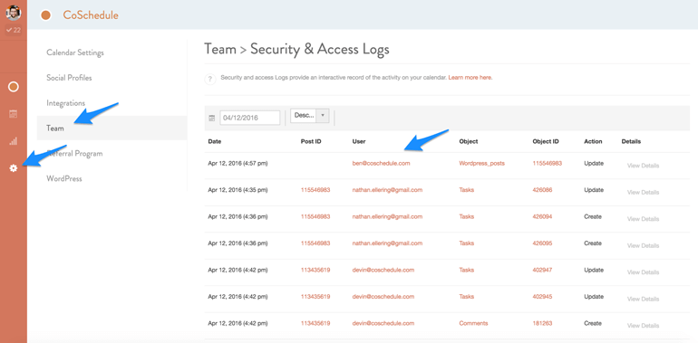 security and access logs in CoSchedule
