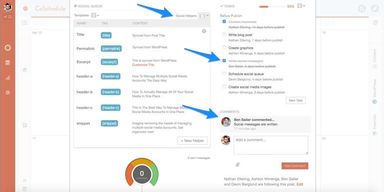 social media workflow and communication system in CoSchedule