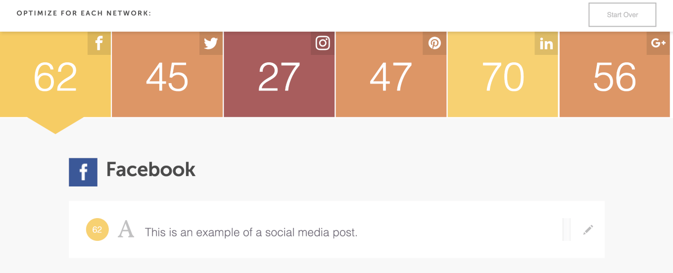Scoring a post with the Social Message Optimizer