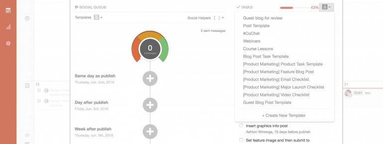 Screenshot of CoSchedule Social Queue Gas Gauge