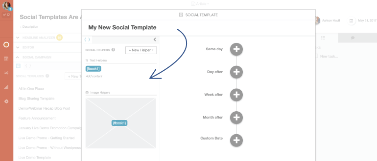 2nd step to creating a social template