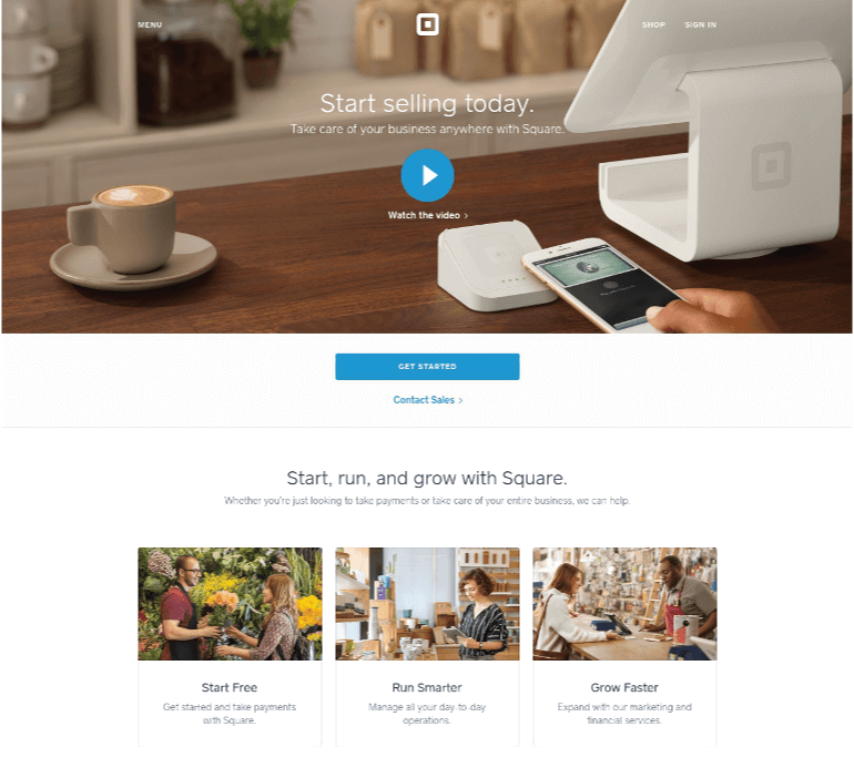 Square Landing Page Example