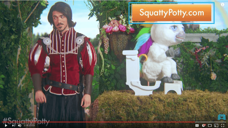 Call to action on the Squatty Potty video
