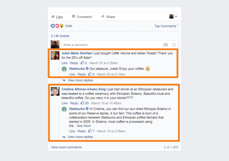 Comments on Starbucks Facebook post