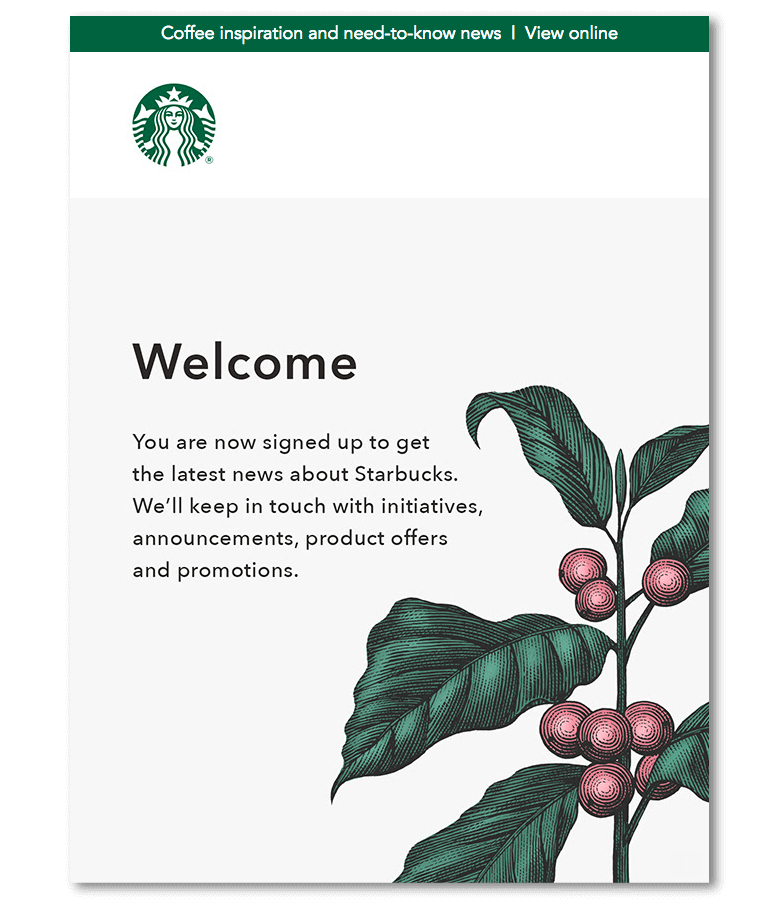 Welcome email sample from Starbucks
