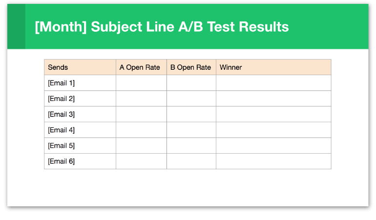 Slide to track email subject line A/B test results