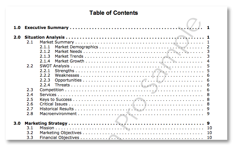 Marketing plan table of contents example.