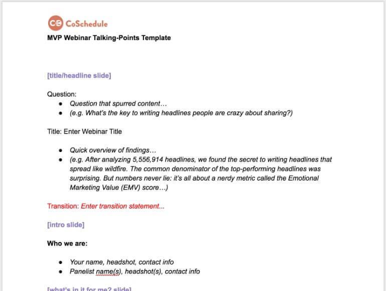 Webinar Talking Points Template