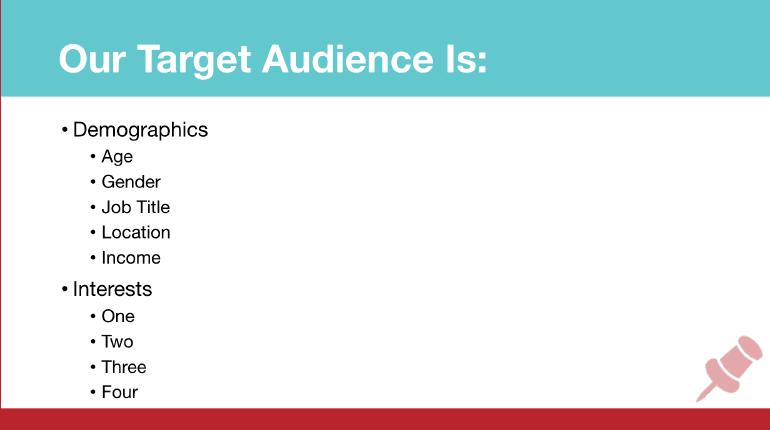 Pinterest Marketing Strategy Template: Target Audience Slide