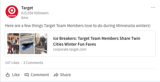 LinkedIn Post from Target