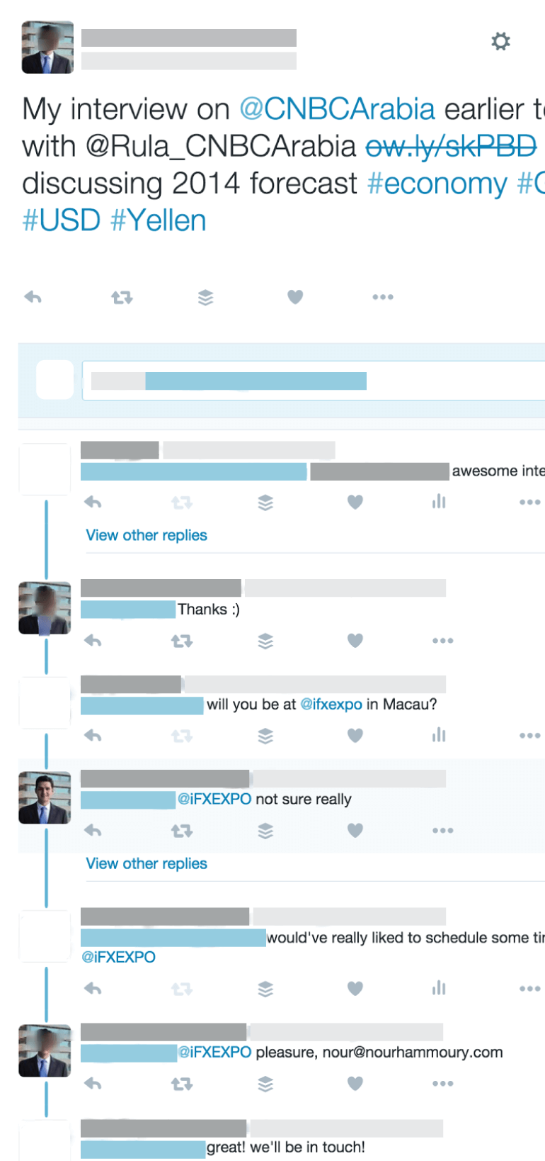 Example of a targeted conversation on social media
