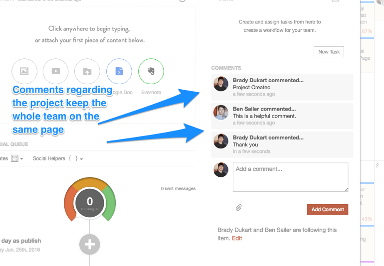Task comments in CoSchedule