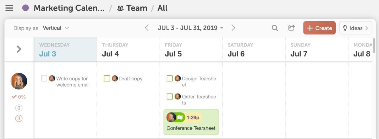 Vertical Team Management Dashboard Example