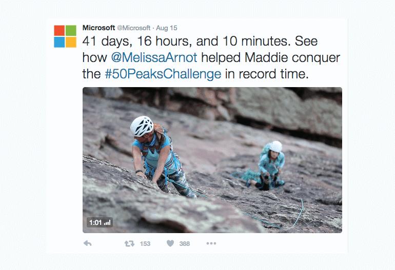 Example of a storytelling tweet