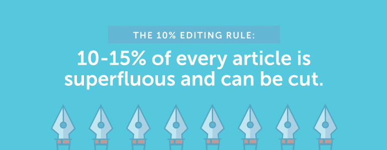 The 10% Editing Rule: 10%-15% of Every Article is Superfluous and Can Be Cut