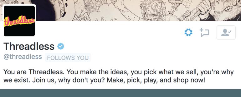 Threadless Twitter Bio