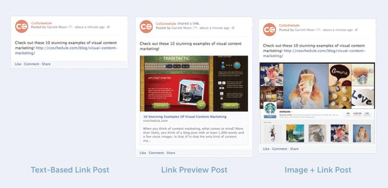 Three types of social posts