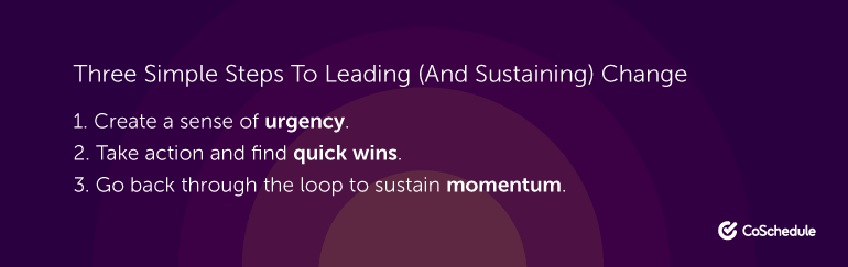 Three Simple Steps to Leading (And Sustaining) Change