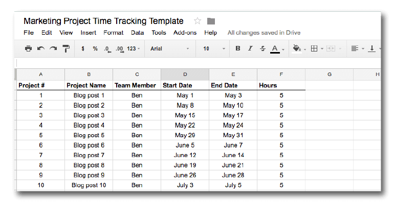 Marketing time tracking template screenshot