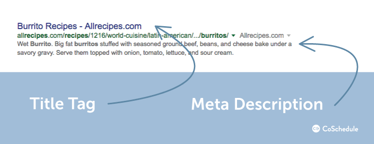 Example of title tag and meta description