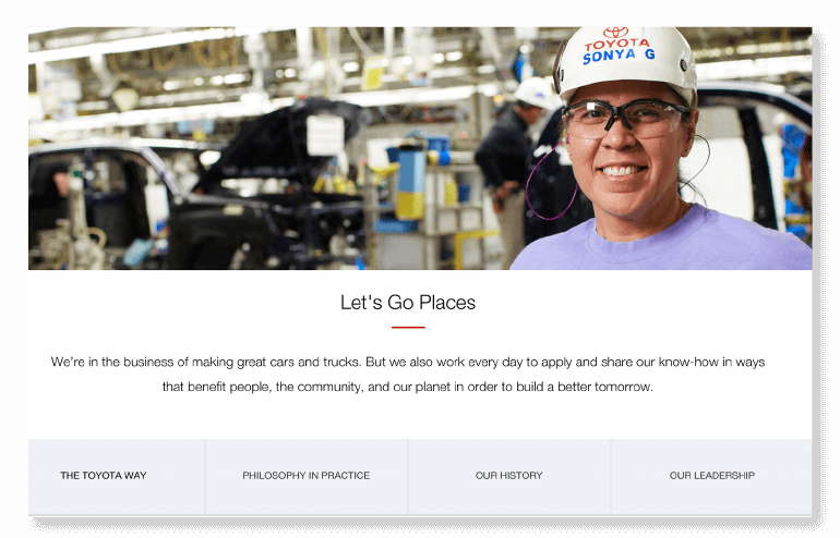 Example of an About Us page from Toyota