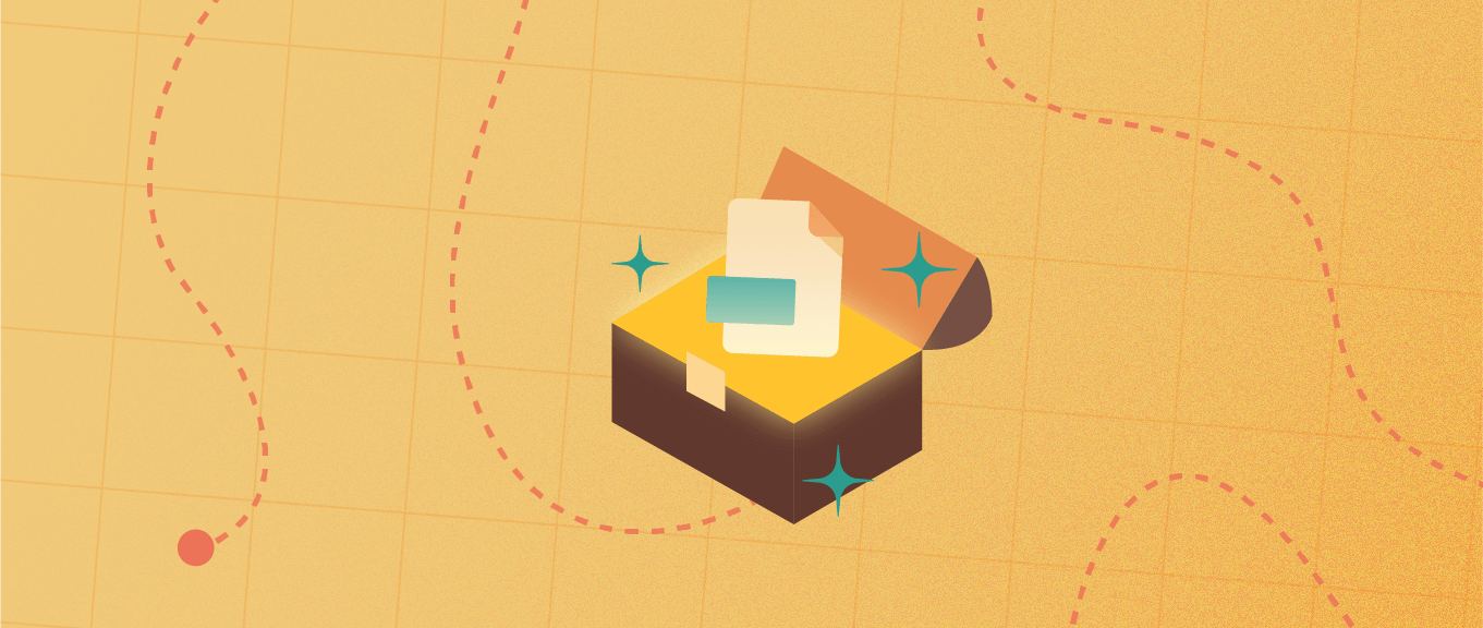 Treasure map with the treasure chest open with asset icon