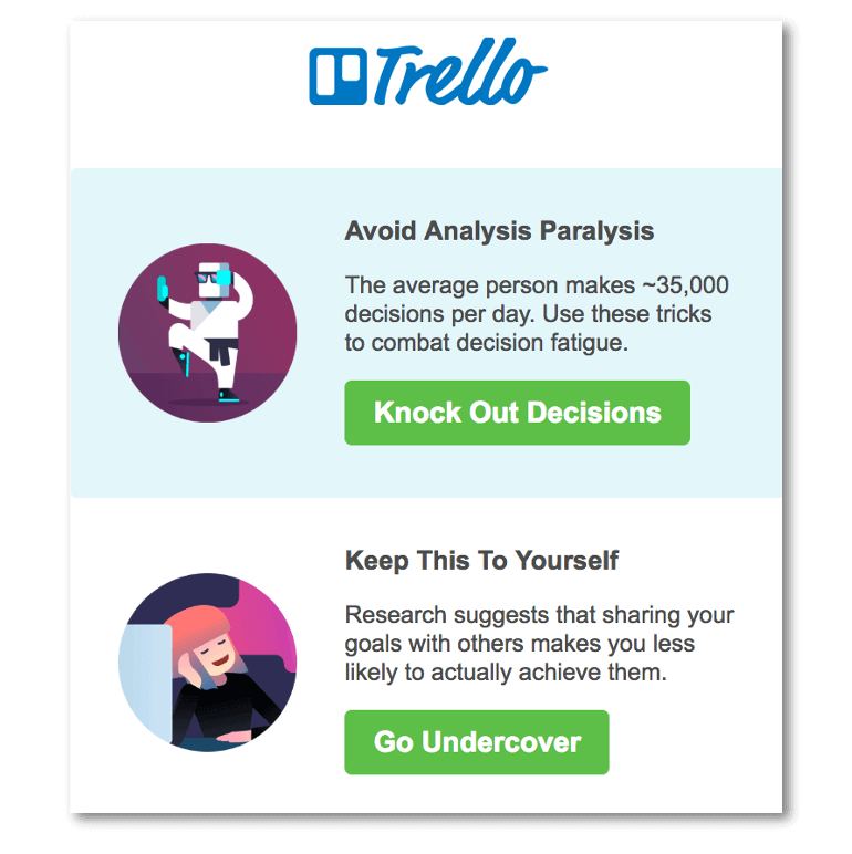Example CTAs in Trello email