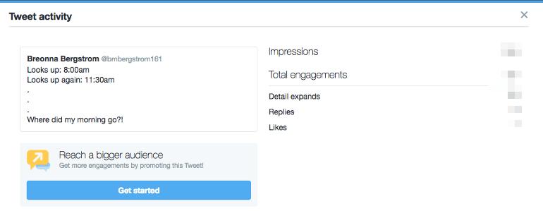 Where to find tweet activity