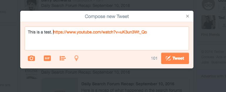 Tweet window with a YouTube URL