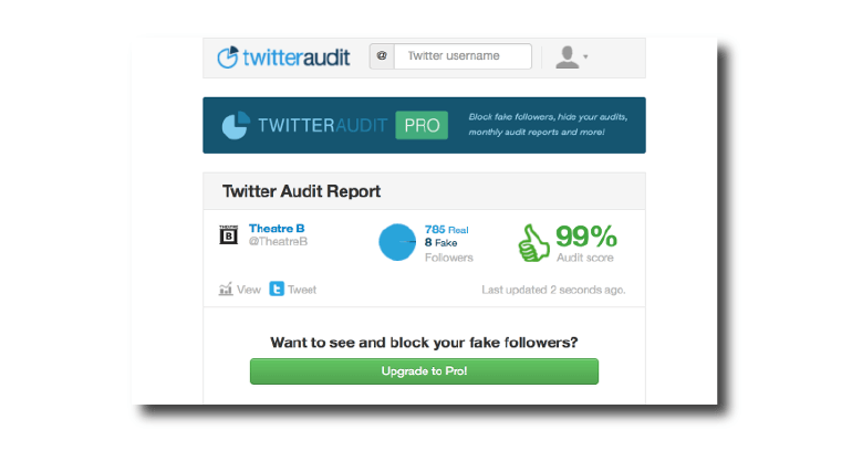 A dashboard displaying real vs fake Twitter followers.