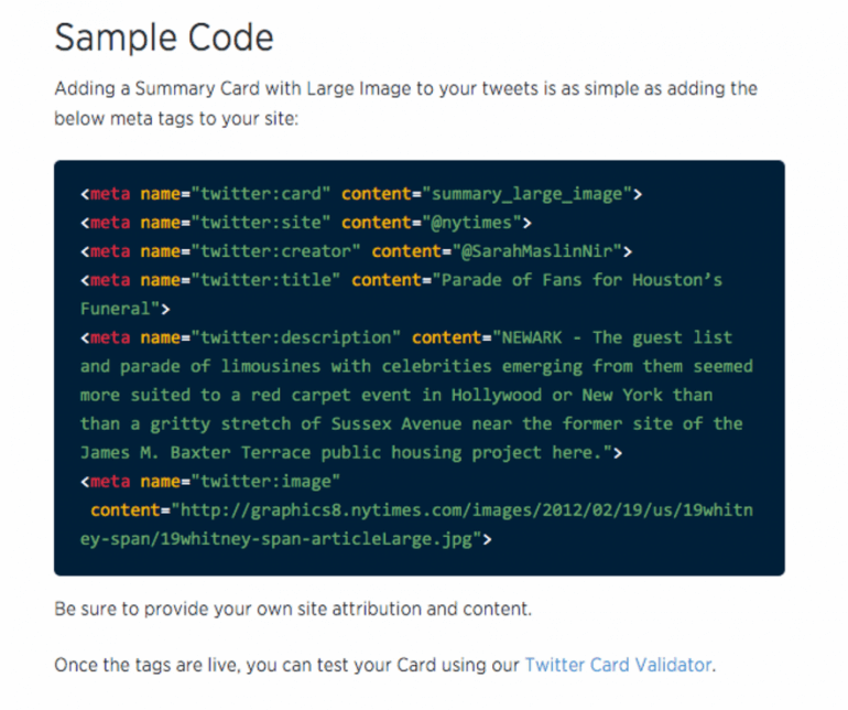 Sample code for a large Twitter card