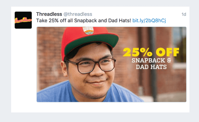 Example of a tweet promoting a sale