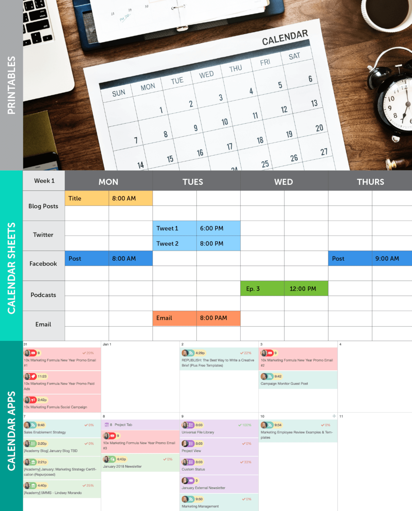 Example of 3 Different Types of Content Calendars