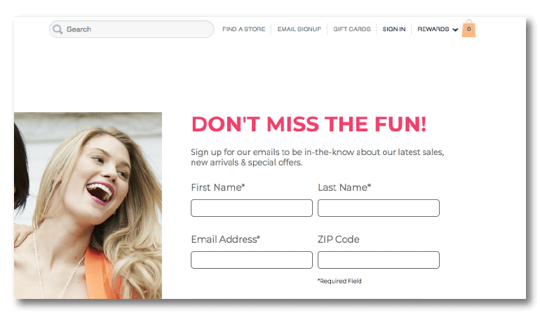 Opt in form example from Ulta