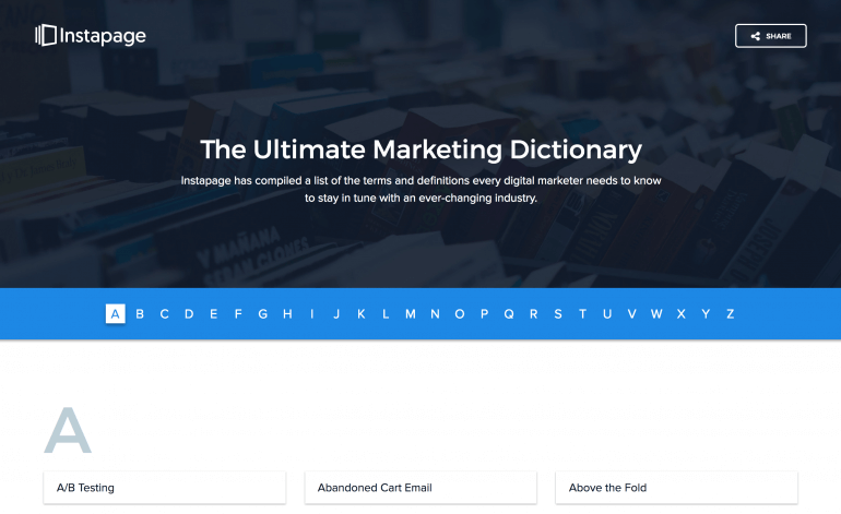 Screenshot from the Ultimate Marketing Dictionary