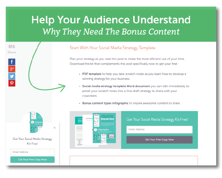 Help your audience understand why they need the bonus content.